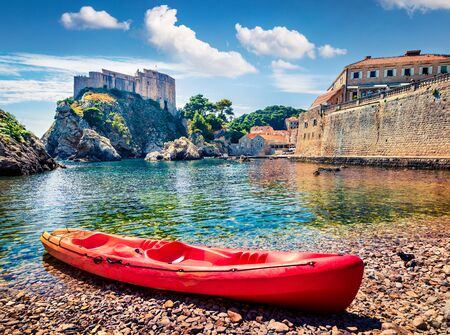Sunny morning view of famous Fort Bokar in city of Dubrovnik. Colorful summer scene of Croatia, Europe. Beautiful world of Mediterranean countries. Architecture traveling background.