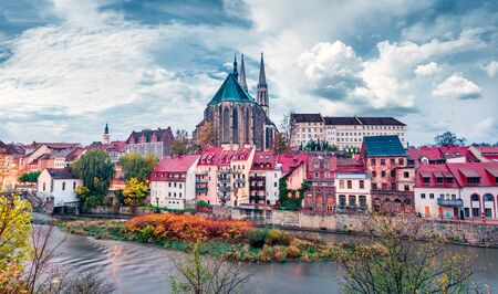 Splendid morning view of St Peter and Paul's Church, on the Polish border. Colorful autumn cityscape of Gorlitz, eastern Germany, Europe. Traveling concept background.