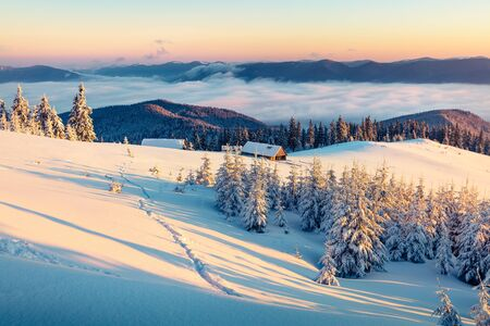Abandoned mountain village in high mountains. Bright winter scene of Carpathians. Misty sunrise in mountain valley with snow covered fir trees. Beauty of nature concept background.