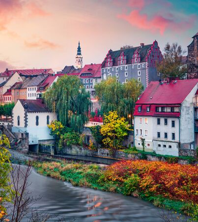 Gorgeous autumn cityscape of Gorlitz, eastern Germany, Europe. Spectacular sunrise view of St Peter and Paul's Church, on the Polish border. Traveling concept background.
