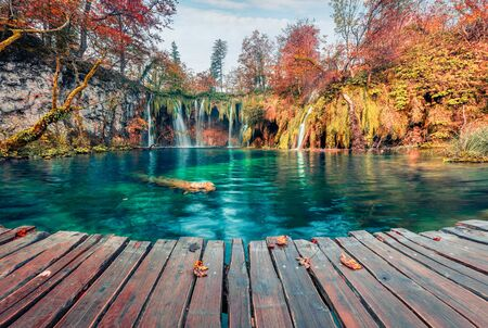 Amazing morning view of pure water waterfall in Plitvice National Park. Picturesque autumn scene of Croatia, Europe. Beauty of nature concept background.