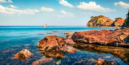Splendid Mediterranean seascape in Turkey. Panoramic summer scene of small azure bay near the Tekirova village, District of Kemer, Antalya Province. Beauty of nature concept background. Stok Fotoğraf