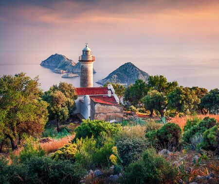 Splendid summer view of lighthouse on Gelidonya peninsula. Colorful sunrise in Turkey, Asia. Great motning  seascape of Mediterranean sea. Traveling concept background.  Reklamní fotografie