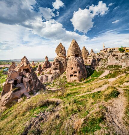 Unreal world of Cappadocia. Splendid summer view of Uchisar Castle. Sunny morning scene of famous Uchisar village, district of Nevsehir Province in the Central Anatolia Region of Turkey, Asia.