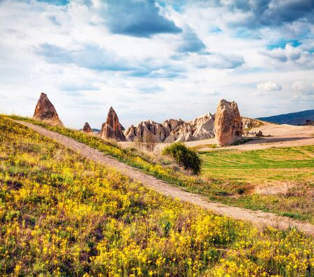 Bright spring scene of Cappadocia. Stunning morning view of of Red Rose valley in April. Cavusin village located, district of Nevsehir, Turkey, Asia. Traveling concept background.