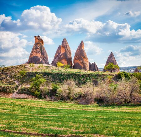 Sunny summer scene of Cappadocia. Splendid morning view of Red Rose valley. Cavusin village located, district of Nevsehir, Turkey, Asia. Traveling concept background.