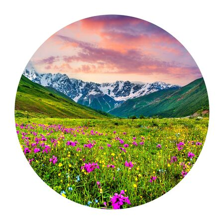 Round icon of nature with landscape. Fabulous summer sunrise in the Caucasus mountains, main Caucasus ridge, Ushguli village location, Upper Svaneti, Georgia. Photography in a circle.