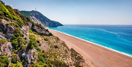 Aerial summer view of Milos Beach. Stunning morning seascape of Ionian sea. Sunny outdoor scene of Lefkada Island, Greece, Europe. Beauty of nature concept background.