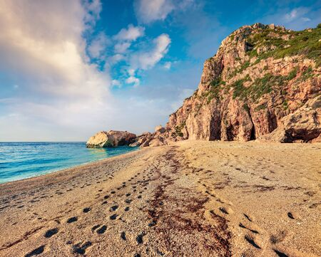 Superb summer view of Kathisma Beach. Stunning morning seascape of Ionian sea. Wonderful outdoor scene of Lefkada Island, Greece, Europe. Beauty of nature concept background. Stock Photo