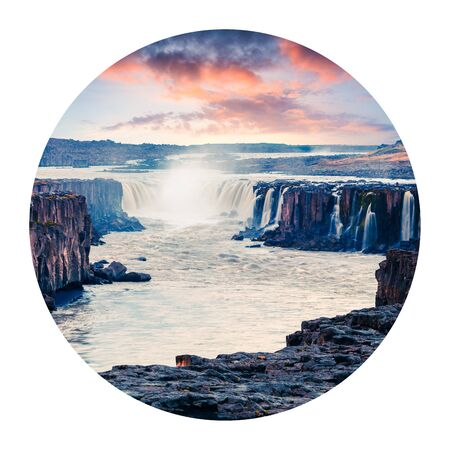 Round icon of nature with landscape. Colorful summer view of Jokulsa a Fjollum riverwith Selfoss Waterfall in Jokulsargljufur National Park, Iceland, Europe. Photography in a circle.