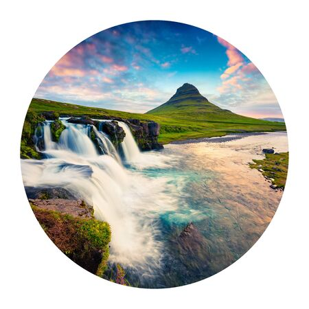 Round icon of nature with landscape. Spectacular summer sunset on famous Kirkjufellsfoss Waterfall and Kirkjufell mountain, Iceland, Europe. Photography in a circle. Archivio Fotografico