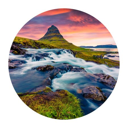 Round icon of nature with landscape. Picturesque summer sunset on famous Kirkjufellsfoss Waterfall and Kirkjufell mountain, Iceland, Europe. Photography in a circle.