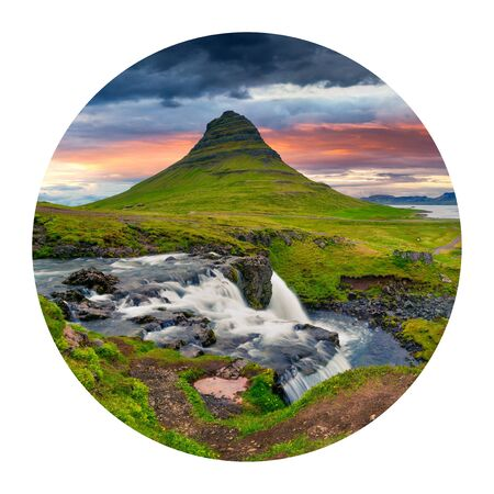 Round icon of nature with landscape. Great summer sunrise on famous Kirkjufellsfoss Waterfall and Kirkjufell mountain. Dramatic morning view of Iceland, Europe. Photography in a circle.