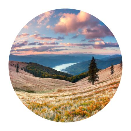Round icon of nature with landscape. Dramatic autumn sunset in foggy Carpathian mountains. Picturesque evening view of Svydovets mountain  range, Ukraine, Europe. Photography in a circle. Stock Photo