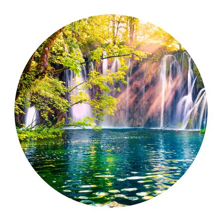 Round icon of nature with landscape. Last sunlights up the pure water waterfall in Plitvice National Park. Colorful summer scene of Croatia, Europe. Photography in a circle.