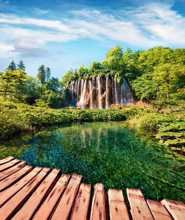 Spectacular summer scene of green forest with pure water waterfall in Plitvice Lakes National Park. Colorful countryside landscape of Croatia, Europe. Traveling concept background.