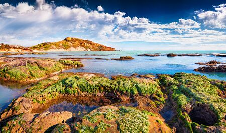 Spectacular summer view of Giallonardo beach. Dramatic morning scene of Sicily, Italy. Wonderful seascape of Mediterranean sea, Europe. Beauty of nature concept background.