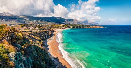 Picturesque morning view of popular italian destination - Guidaloca beach, Scopello location, Sicily, Europe. Amazing summer seascape of Mediterranean sea, Italy.