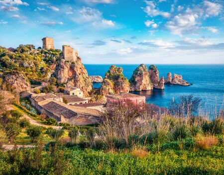 Attractive spring scene of Tonnara di Scopello. Sunny landscape of Sicily, Italy, Europe. Wonderful morning seascape of Mediterranean sea. Traveling concept background.