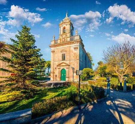 Beautiful spring cityscape of Ragusa town with San Giacomo Apostolo church. Sunny morning scene of Sicily, Italy, Europe. Traveling concept background.
