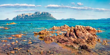 Panoramic spring view of Tavolara island from Spiaggia del dottore beach. Marvelous morning scene of Sardinia island, Italy, Europe. Sunny Mediterranean seascape. Beauty of nature concept background