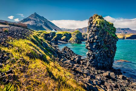 Amazingly shaped basalt columns on the shores of Atlantic Ocean. Sunny summer view of small fishing village at the foot of Mt. Stapafell - Arnarstapi or Stapi, Iceland, Europe.