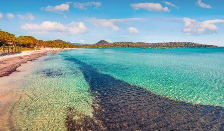 Adorable summer view of Santa Giulia beach. Fresh morning scene of Corsica island, France, Europe. Stunning Mediterranean seascape. Beauty of nature concept background.