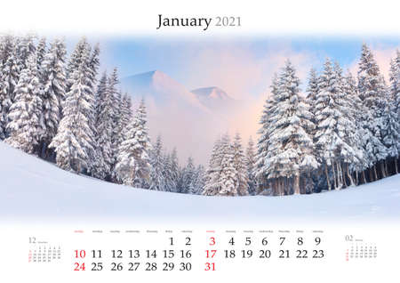Calendar January 2021, B3 size. Set of calendars with amazing landscapes. Adorable winter view of snowy forest on sunrise. Carpathian mountains after huge snowfall.