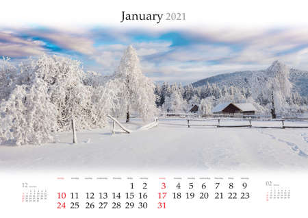 Calendar January 2021, B3 size. Set of calendars with amazing landscapes. Bright winter view of mountain village after huge snowfall. Picturesque morning scene of snowy valley. Reklamní fotografie