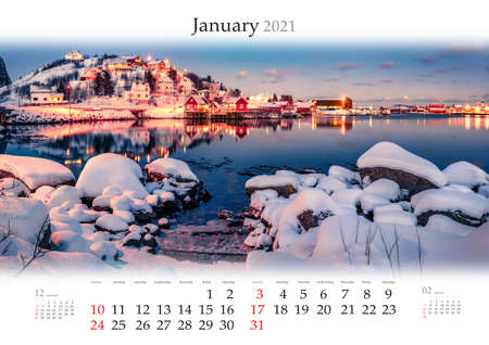 Calendar January 2021, B3 size. Set of calendars with amazing landscapes. Calm winter view of Reine village, Lofoten islands, Norway, Europe. Stunning sunset on Norwegian sea. Reklamní fotografie