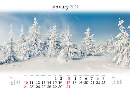 Calendar January 2021, B3 size. Set of calendars with amazing landscapes. Sunny winter view of mountain forest after huge snowfall. Splendid outdoor scene of snowy trees.