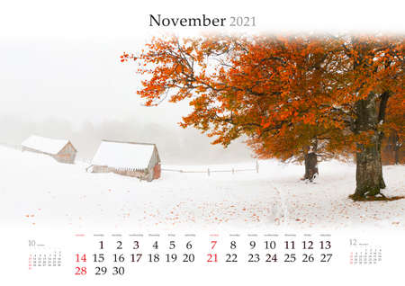 Calendar November 2021, B3 size. Set of calendars with amazing landscapes. Abandoned Carpathian farm. First snow in the mountains. Captivating autumn scene of mountain valley.