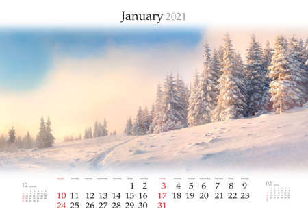 Calendar January 2021, B3 size. Set of calendars with amazing landscapes. Superb winter view of snowy forest on sunrise. Carpathian mountains after huge snowfall.