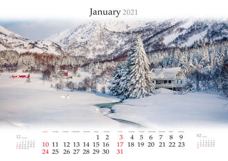 Calendar January 2021, B3 size. Set of calendars with amazing landscapes. Beautiful winter view of Norwegian mountain village after huge snowfall. Morning scene of Lofoten islands. Reklamní fotografie