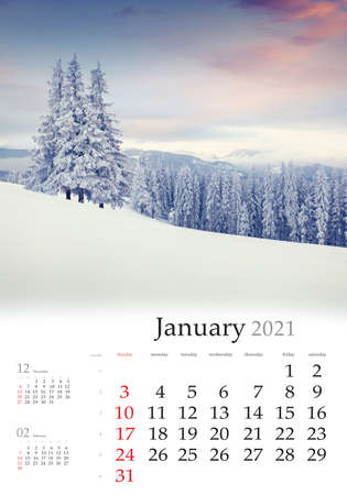 Calendar January 2021, vertical B3 size. Set of calendars with amazing landscapes. Dramatic winter view of mountain valley. Nice sunrise in Carpathian mountains, Ukraine, Europe.