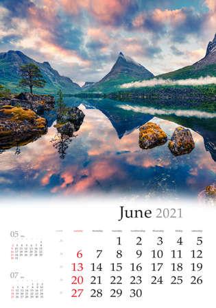 Calendar June 2021, vertical B3 size. Set of calendars with amazing landscapes. Impressive summer sunrise on the Innerdalsvatna lake. Colorful morning scene in Norway, Europe. 版權商用圖片