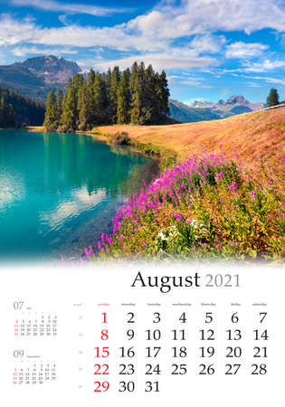 Calendar August 2021, vertical B3 size. Set of calendars with amazing landscapes. Colorful summer view of Champferersee lake. Sunny scene of Silvaplana village, Switzerland, Europe.