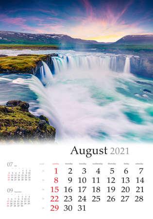 Calendar August 2021, vertical B3 size. Set of calendars with amazing landscapes. Summer morning view of Godafoss Waterfall. Great sunrise on Skjalfandafljot river, Iceland, Europe.