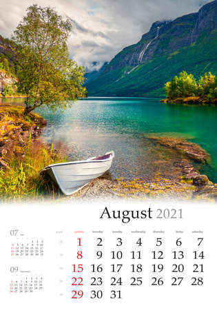 Calendar August 2021, vertical B3 size. Set of calendars with amazing landscapes. Impressive summer view of Lovatnet lake, municipality of Stryn, Sogn og Fjordane county, Norway, Europe.