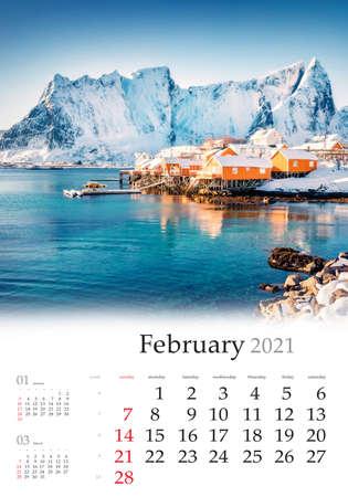 Calendar February 2021, vertical B3 size. Set of calendars with amazing landscapes. Sunny morning scene of popular tourist destination - Lofoten Islands, Sakrisoy village, Norway, Europe.