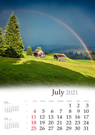 Calendar July 2021, vertical B3 size. Set of calendars with amazing landscapes. Impressive evening scene of Compaccio village with huge rainbow on background, Alpe di Siusi, Italy, Europe. 版權商用圖片