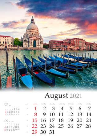 Calendar August 2021, vertical B3 size. Set of calendars with amazing landscapes. Impressive summer sunset with Basilica di Santa Maria della Salute church in Venice, Italy, Europe.