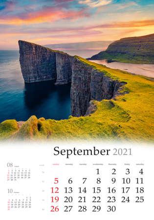 Calendar September 2021, vertical B3 size. Set of calendars with amazing landscapes. Spectacular morning view of Sorvagsvatn lake, Vagar, Faroe Islands, Denmark, Europe.