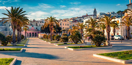 Panoramic morning view of central park of Vieste town. Romantic summer scene of Apulia, Italy, Europe. Traveling concept background.