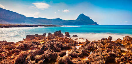 Panoramic summer scene of Monte Cofano National Park, Sicily, San Vito cape, Italy, Europe. Colorful morning seascape of Mediterranean sea. Beauty of nature concept background.
