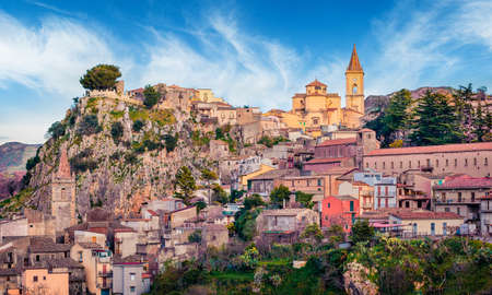 Old mountain town - Novara di Sicilia. Gorgeous spring morning in Sicily, Italy, Europe. Beautiful world of Mediterranean countries. Traveling concept background.