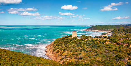 Sunny spring scene of Gargano National Park. Beautiful morning view of Torre di San Felice tower in Apulia region, Italy, Europe. Picturesque seascape of Adriatic sea. Traveling concept background.