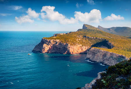 Astonishing summer view of Caccia cape. Wonderful morning scene of Sardinia island, Italy, Europe. Perfect seascape of Mediterranean sea. Beauty of nature concept background.