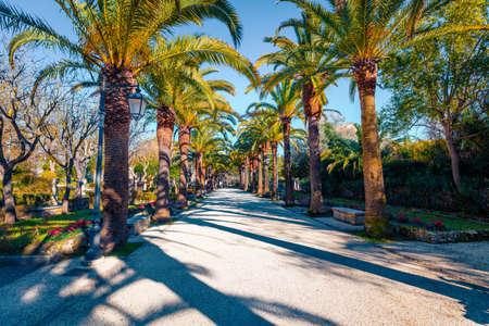Beautiful spring cityscape of Giardino Ibleo Garden. Sunny morning scene of Sicily, Italy, Europe. Traveling concept background. 免版税图像