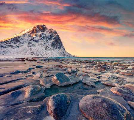 Colorful spring view of Haukland Beach, Vastvagoy. Great morning scene of Lofoten Island, Norway, Europe. Fabulous seascape of Norwegian sea. Beauty of nature concept background.